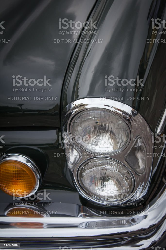 Classic car front lamp stock photo