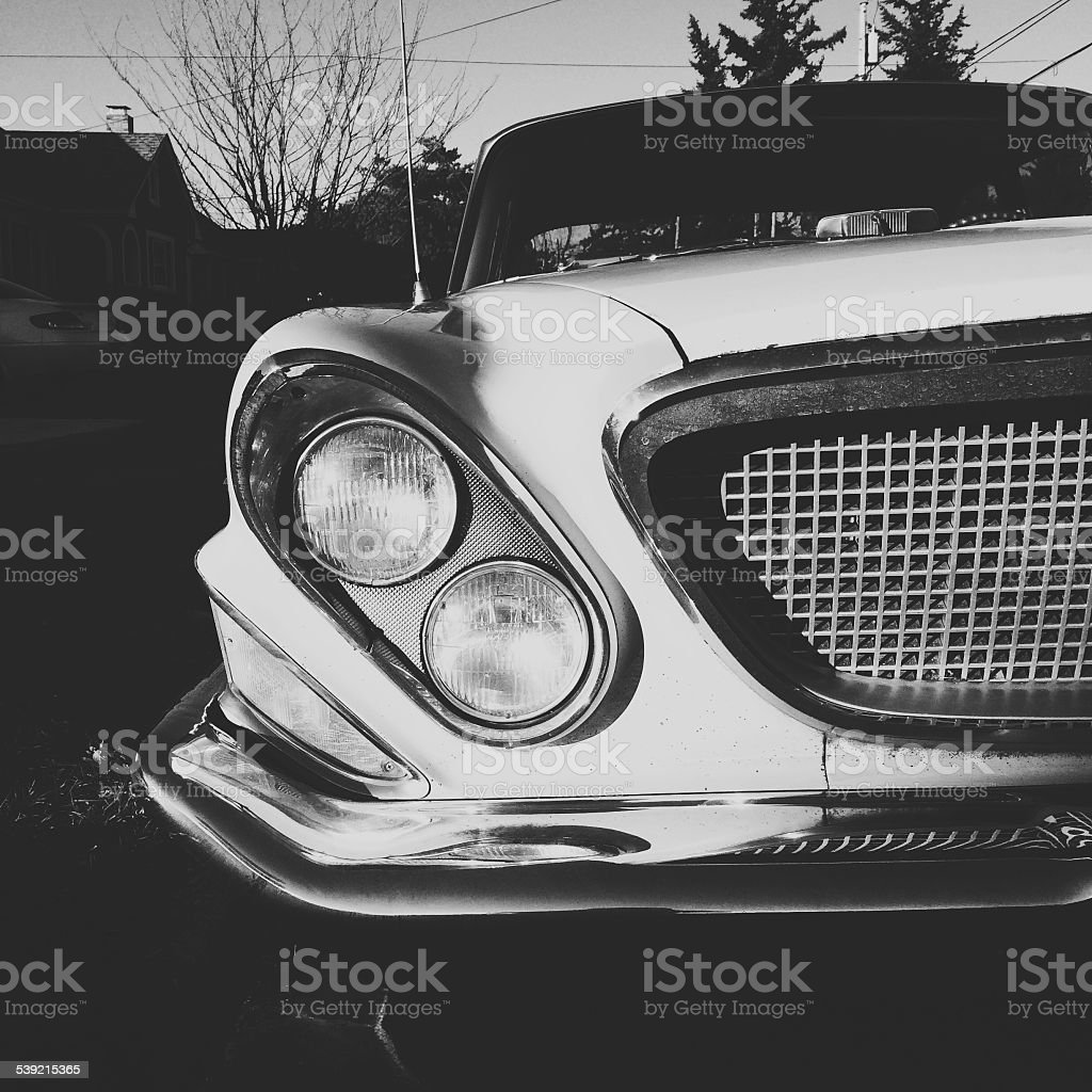 Classic Car Grille and Head Light Details stock photo