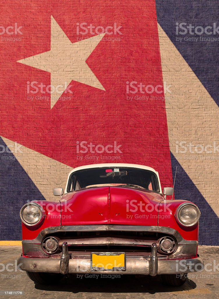 Classic car in Cuba stock photo