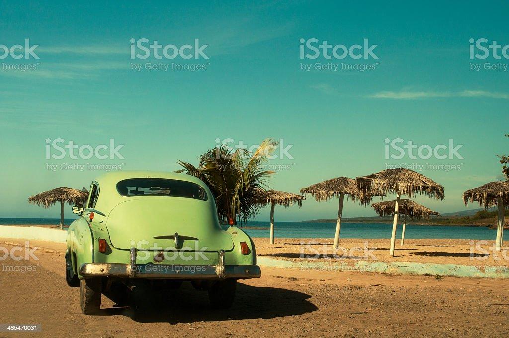 Classic car near the beach stock photo