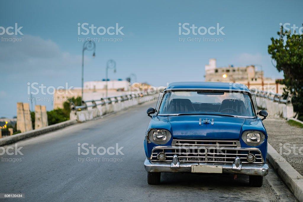 Classic car on Miramar Avenue stock photo