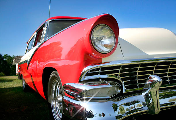 Classic Car Sparkling Red and tan colored classic car car show stock pictures, royalty-free photos & images