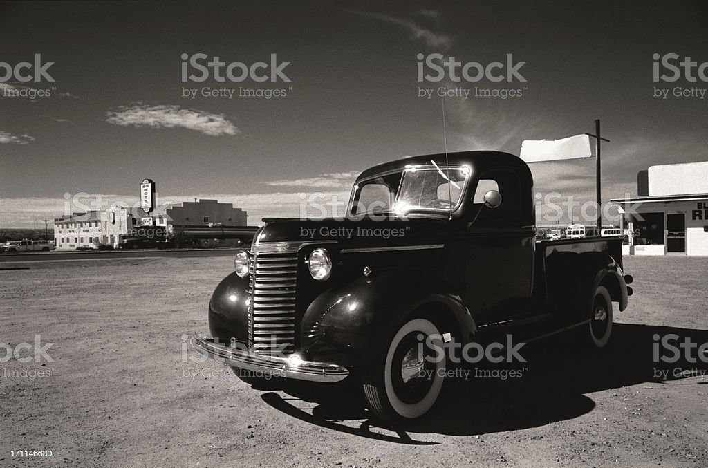 classic car - route 66 royalty-free stock photo