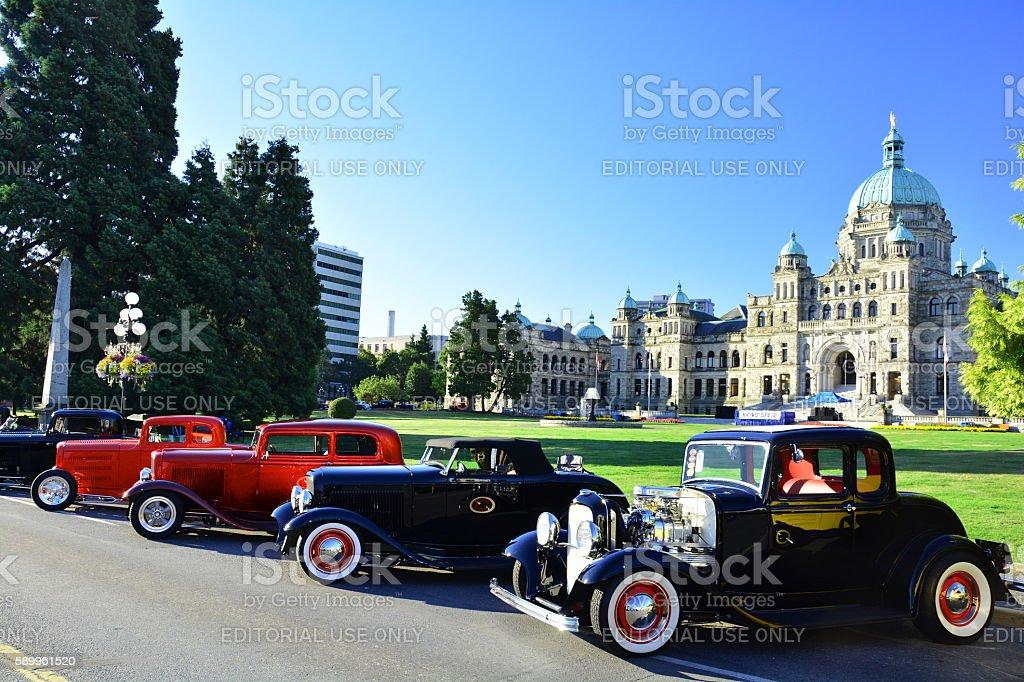 Classic car show in Victoria stock photo
