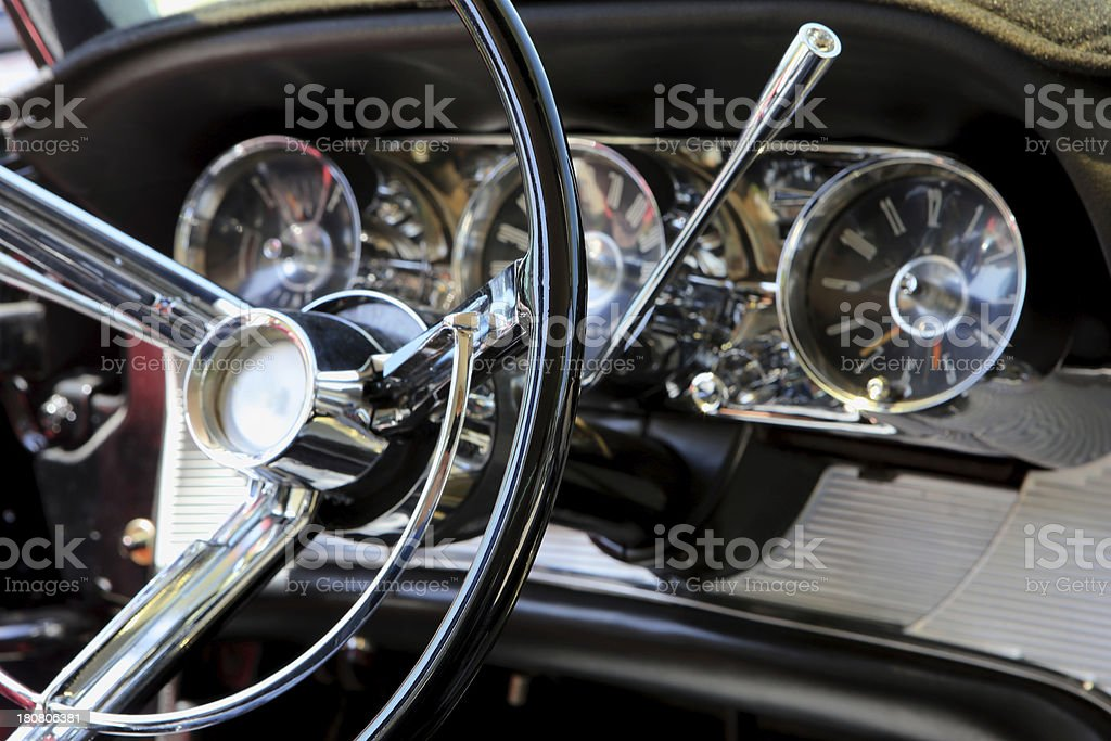 Classic Car Steering Wheel and Dash Board royalty-free stock photo