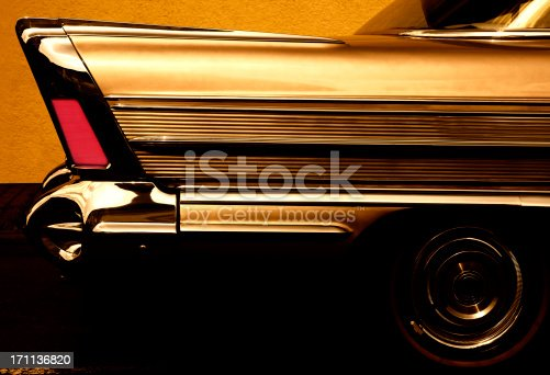 tail fin of a vintage american car, toned imageClick here to view more related images: