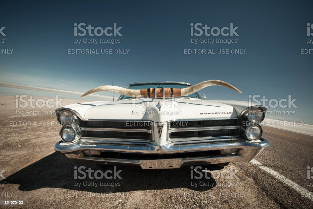 Classic car with horns on the side of the salt flats in Utah USA stock photo