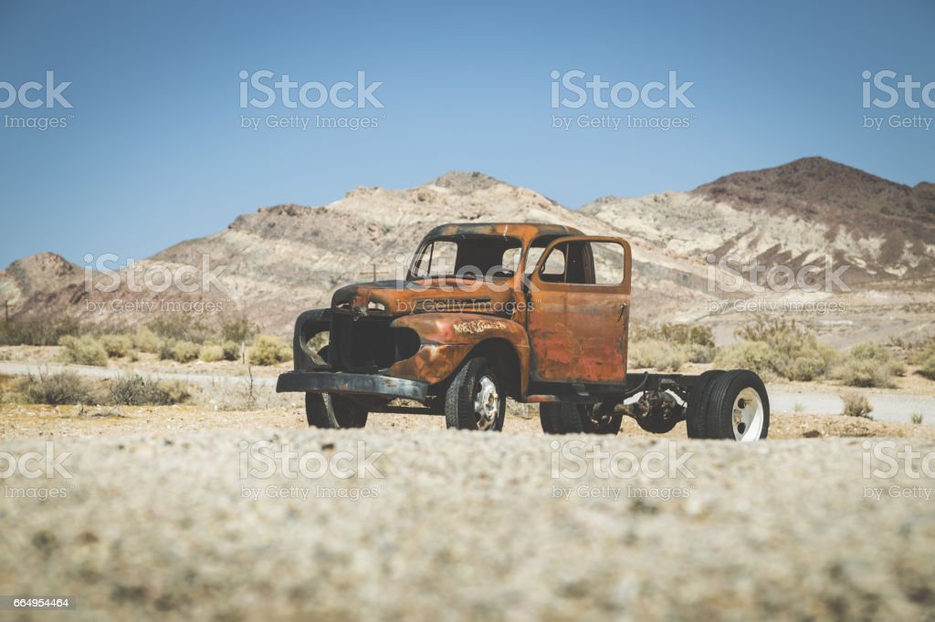 Classic car wreck in the American Southwest, USA stock photo