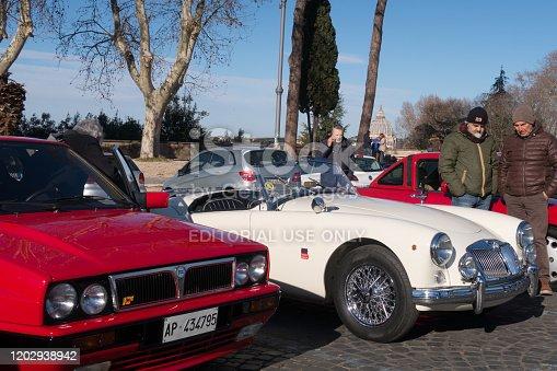 Rome, Italy - Dec 29, 2019:  Classic cars event in Janiculum Terrace in rome italy.