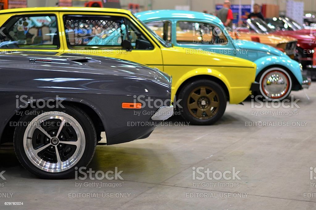 Classic cars in the showroom stock photo