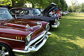Summer show of vintage cars.  USA   1950's vehicles.