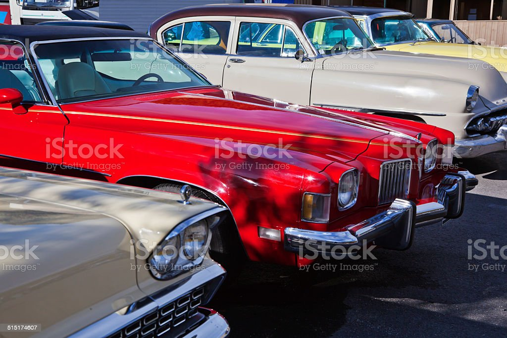 Classic cars on parking. stock photo