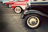 Classic cars show, vehicles parked on a row