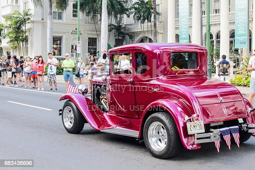 Honolulu, Hawaii, USA - May 30, 2016: Waikiki Memorial Day Parade