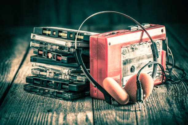 Classic cassette tape with headphones stock photo