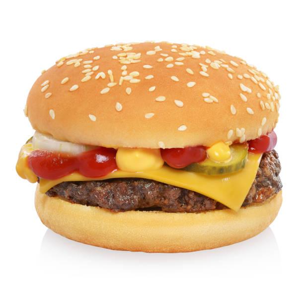 classic cheeseburger isolated on white - cheeseburger zdjęcia i obrazy z banku zdjęć