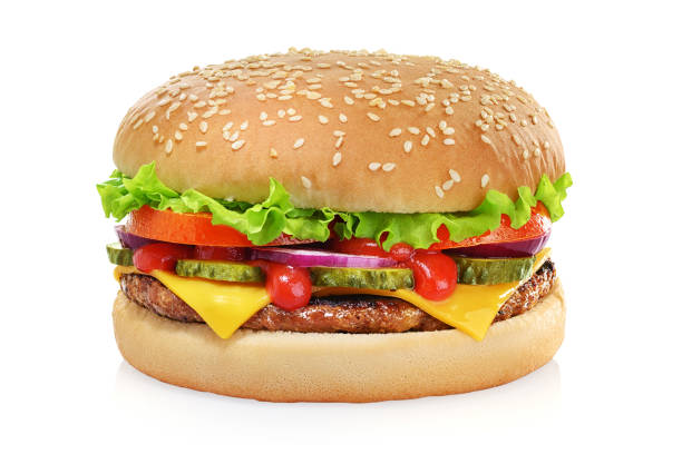 classic cheeseburger isolated on white - cheeseburger стоковые фото и изображения