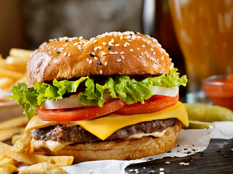 Classic Cheeseburger on a Brioche Bun with Fries and a Milkshake