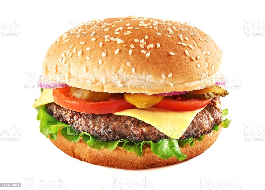 Classic cheeseburger stock photo