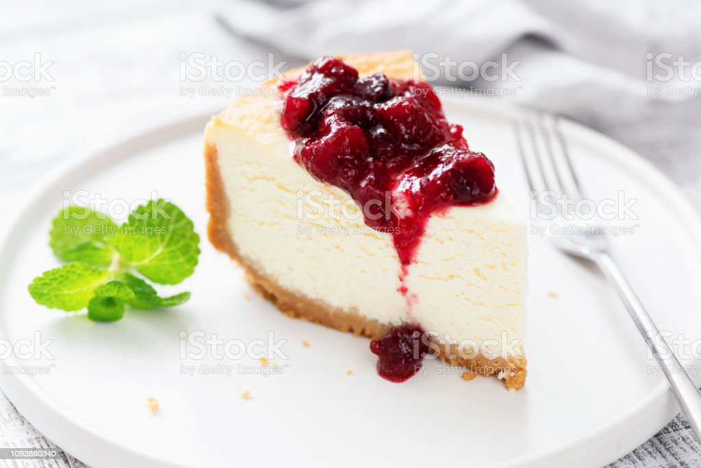 Classic Cheesecake With Cherry Sauce - Royalty-free Above Stock Photo