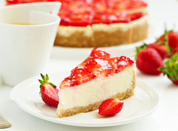 Classic cheesecake with fresh strawberries. Selective focus. stock photo