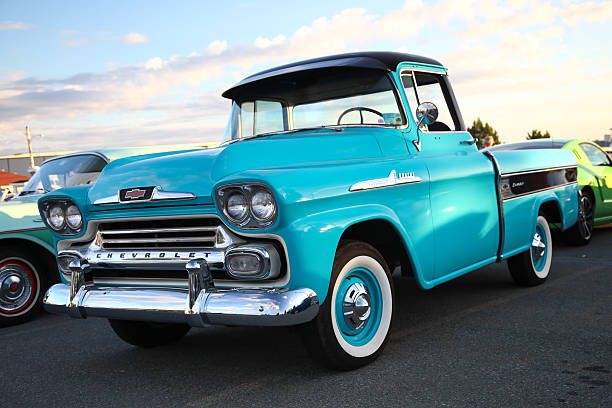 Classic Chevy Truck in parking lot stock photo