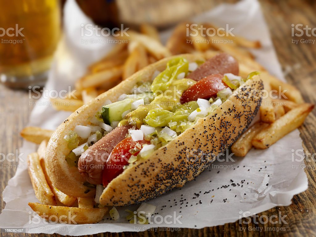 Classic Chicago Dog with Fries stock photo
