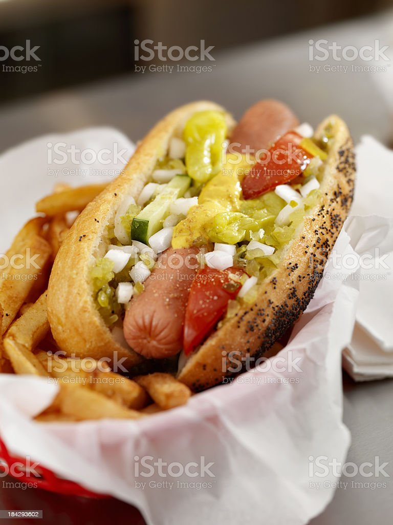 Classic Chicago Dog with Fries royalty-free stock photo