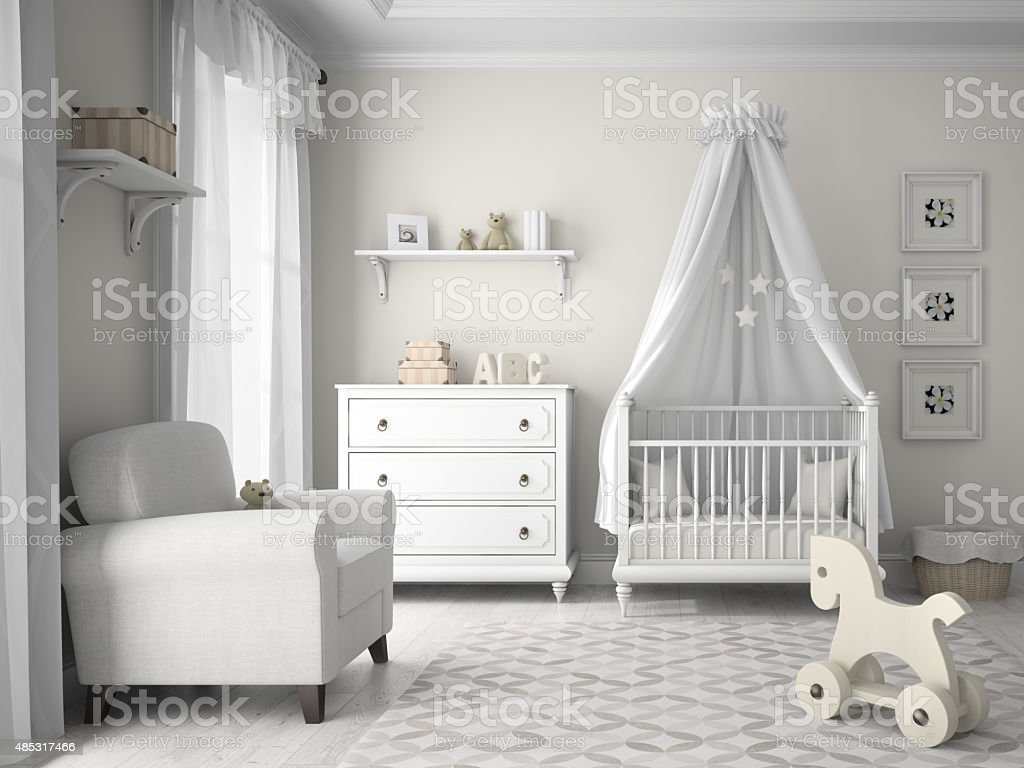 Classic children room in white color 3D rendering stock photo