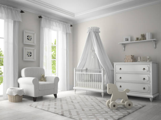 klassische kinder zimmer in weißer farbe 3d-abbildung - gardinen weiß stock-fotos und bilder