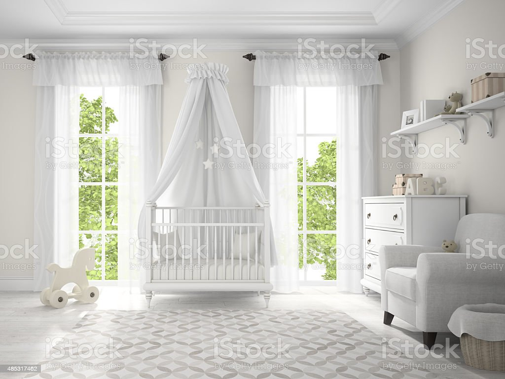 Classic children room with cradle 3D rendering stock photo