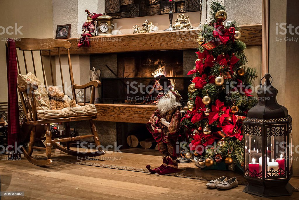 classic christmas house interior with fireplace and christmas tree royalty free stock photo - Classic Christmas Trees