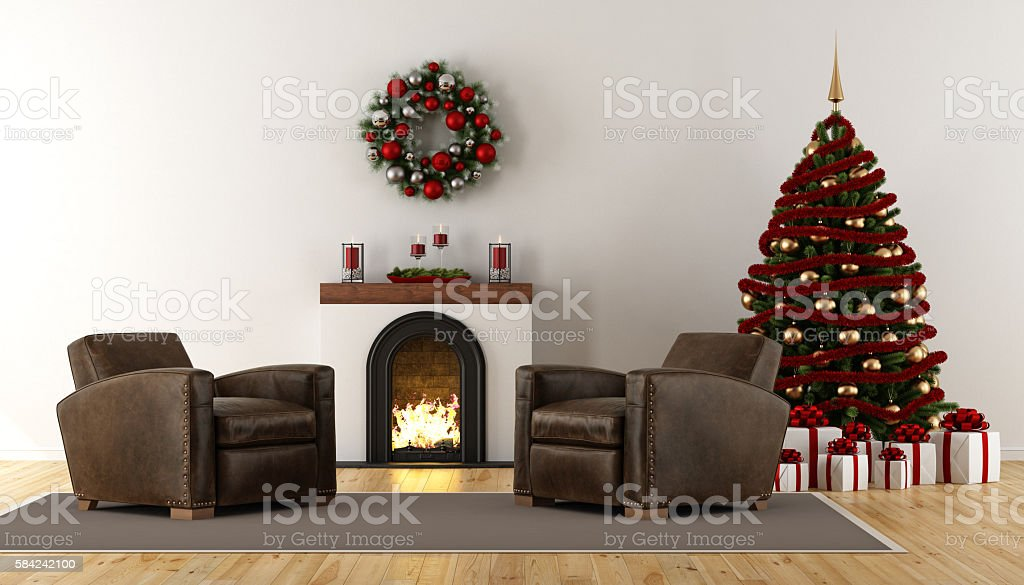 Classic christmas room with fireplace stock photo