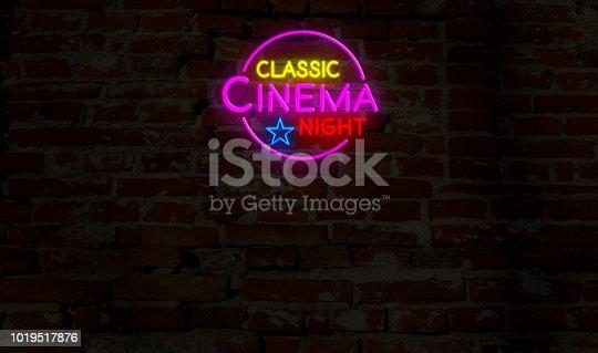 991292404 istock photo Classic cinema night neon 1019517876