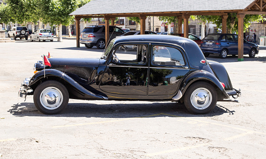 Zamora, Spain - July 28, 2017: Classic Citroen Traction Avant parked iin the province of Zamora, Spain. Executive car produced by the French manufacturer Citroen from 1934 to 1957.