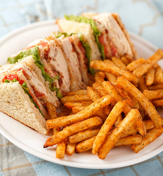 classic club sandwich - club sandwich stock photos and pictures
