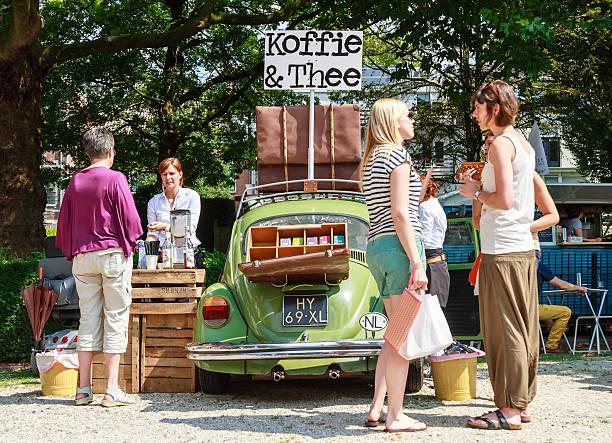 Classic coffee car stock photo