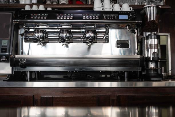 classic coffee machine in a paris cafe - argento metallo caffettiera foto e immagini stock
