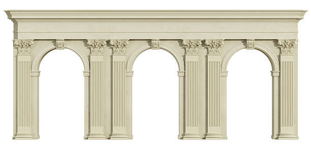 Classic colonnade isolated on white Classic colonnade with arch and corinthian column isolated on white - 3d rendering arch architectural feature stock pictures, royalty-free photos & images
