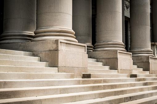 Classic columns and marble steps. Washington, USA