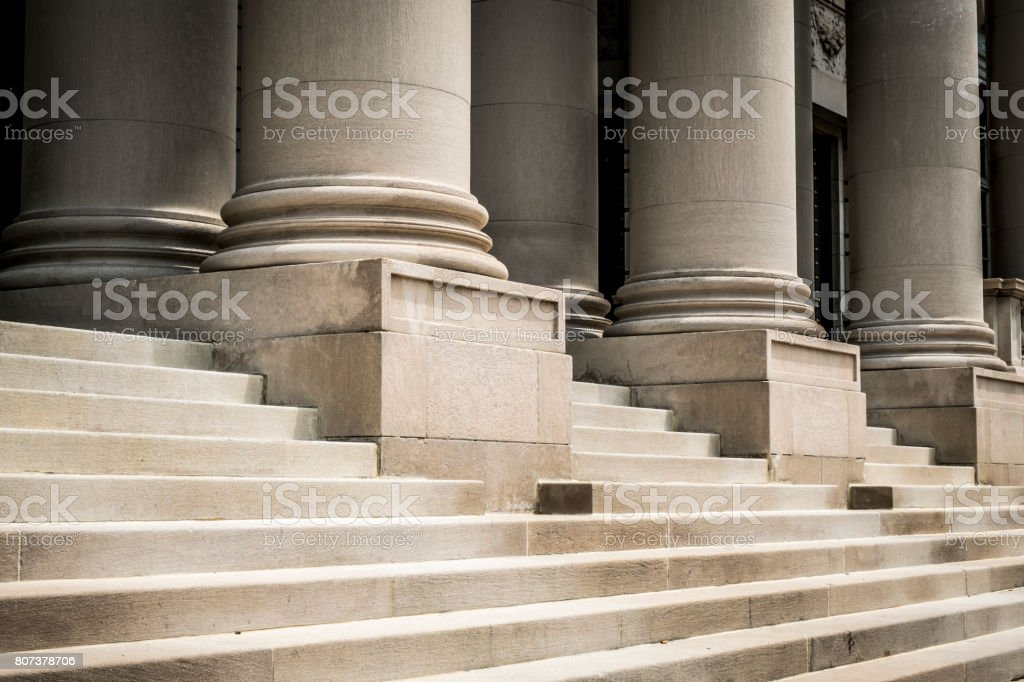 Classic columns and marble steps stock photo