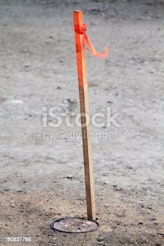 Classic construction flag marks the spot