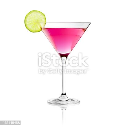 Photography of a typical cosmopolitan drink with lime decoration.