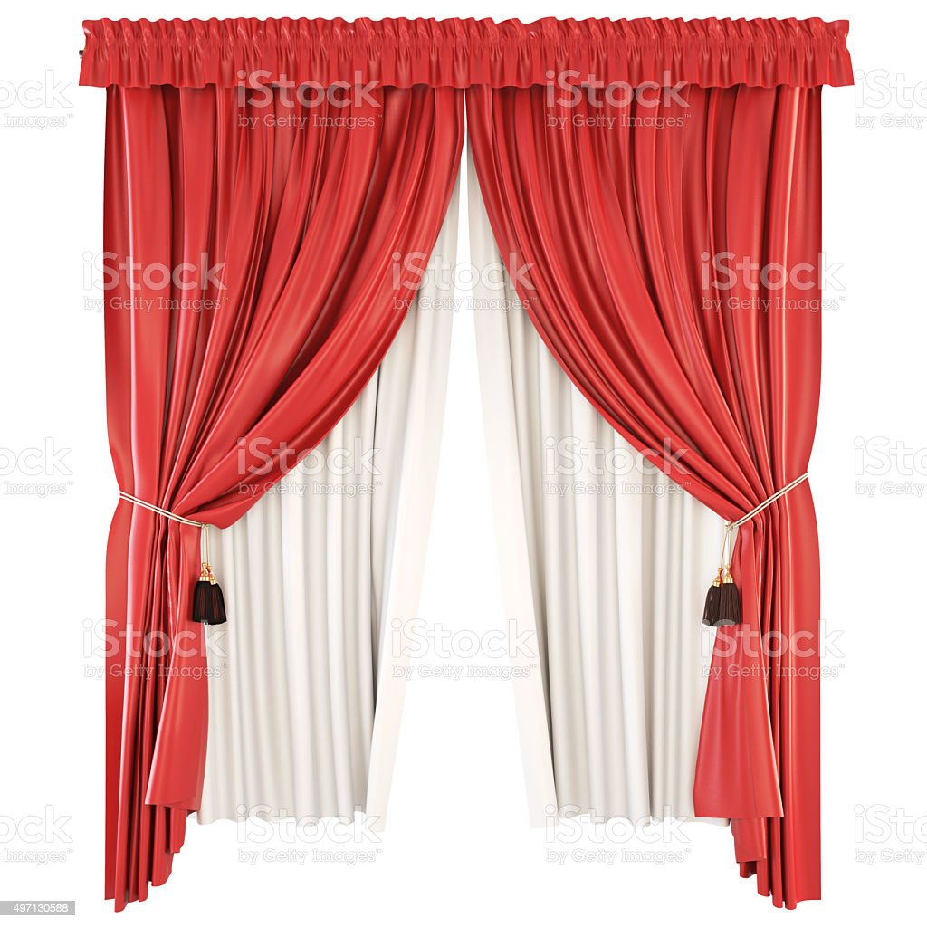 Classic curtains with pelmet isolated on white background. 3d. stock photo