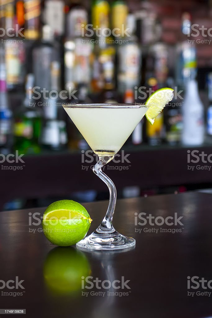 Classic Daiquiri cocktail on the black bar table stock photo