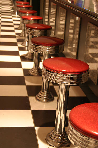 Classic Diner Stools stock photo