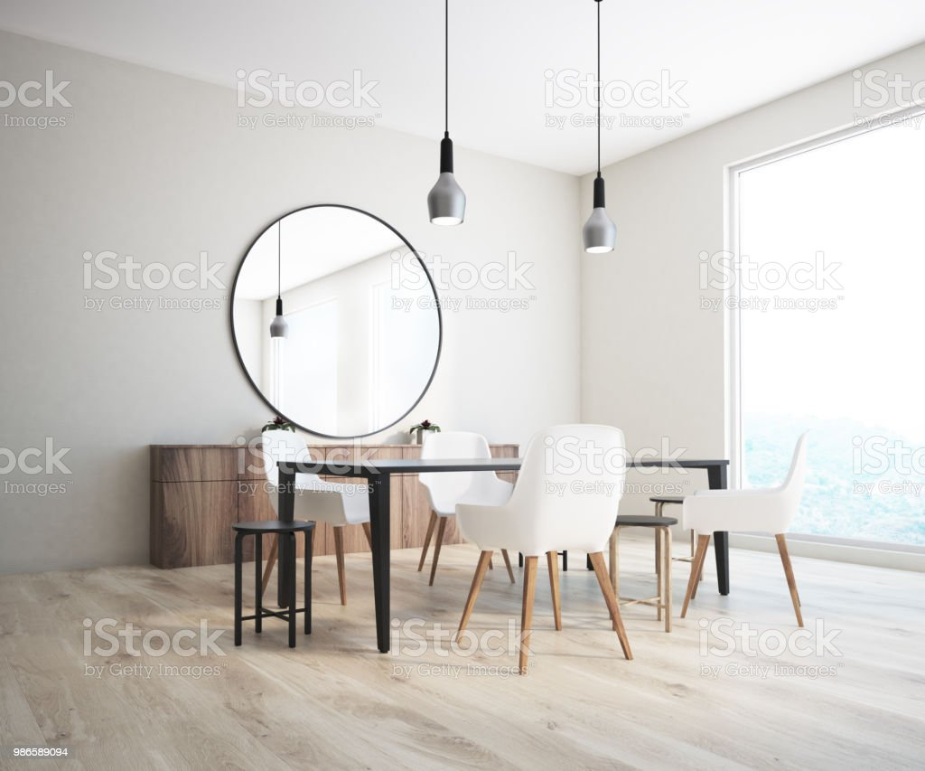 Classic Dining Room Corner Round Mirror Stock Photo Download Image Now Istock