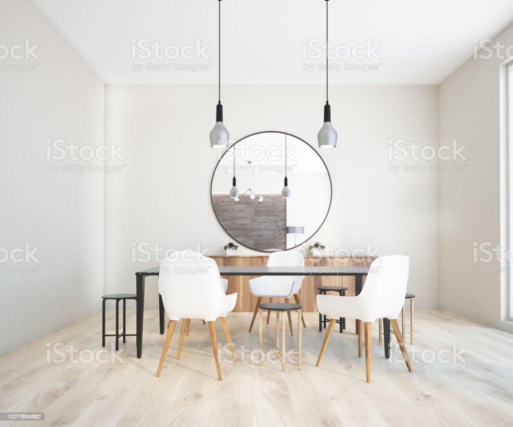 Classic Dining Room Interior Round Mirror Stock Photo Download Image Now Istock