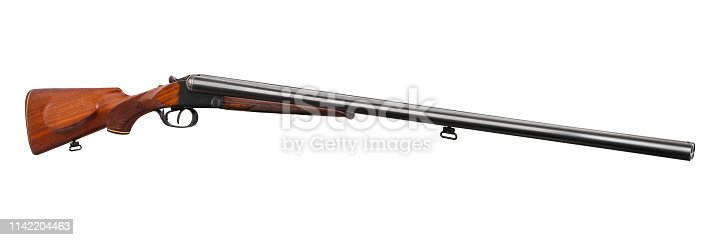 Classic double-barrell smooth-bore hunting rifle isolated on white background
