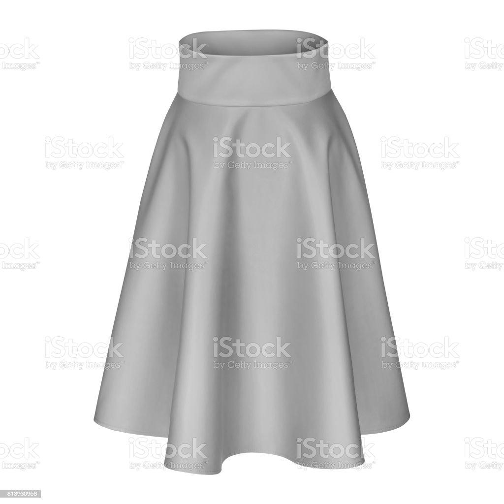 Classic elegant midi silver gray silk satin skirt isolated on white stock photo
